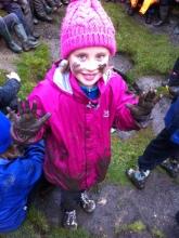 Lauren showing us how to 'mud' paint!