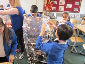Covering in cling film