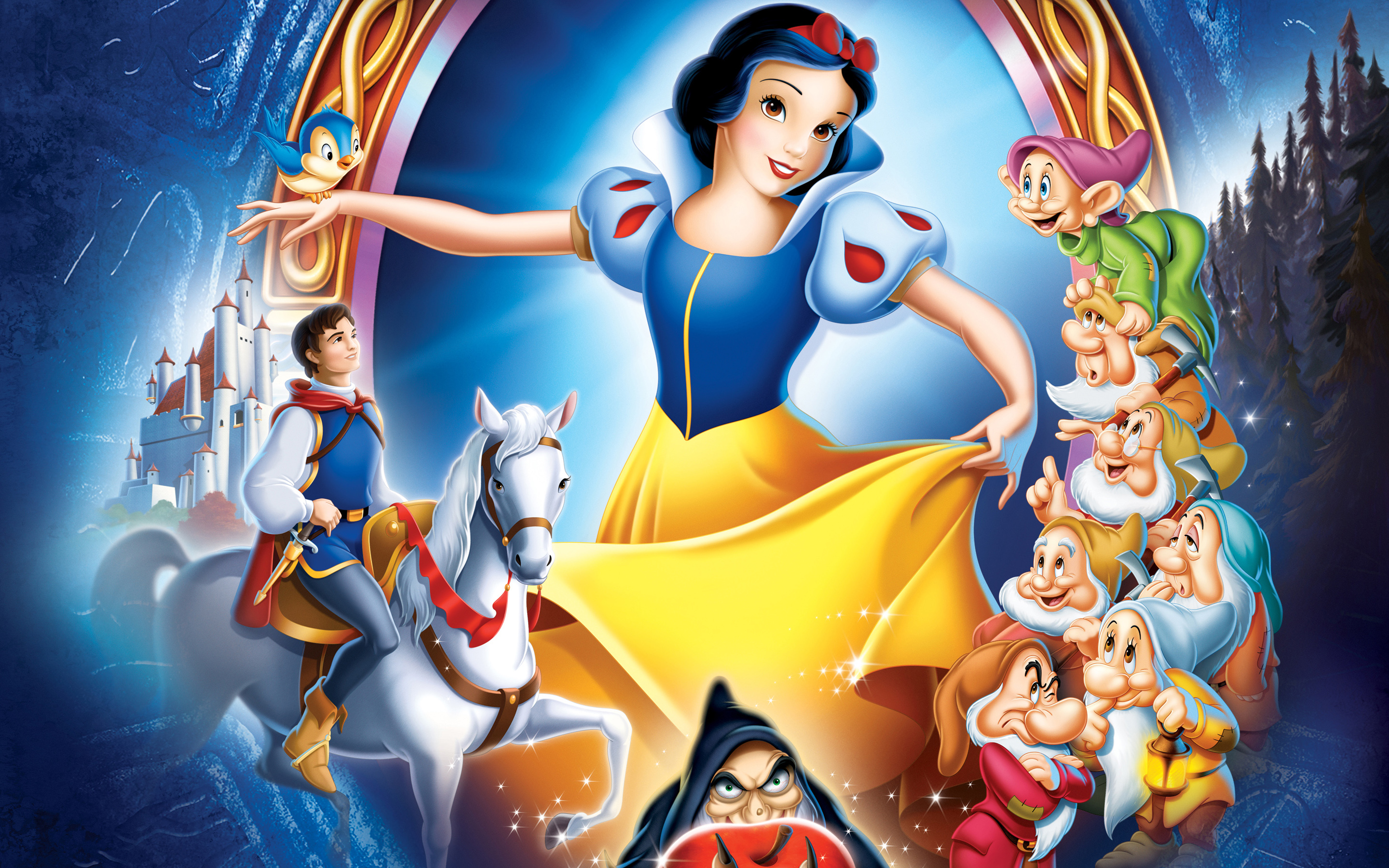 Disney Enchanted Wallpaper In X Pixel Snow White Seven Dwarfs And Prince White Dance Sing And Have Fun Tv Movies Wallpaper